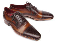 Paul Parkman Men's Captoe Oxfords Brown Hand Painted Shoes (ID5032-BRW)