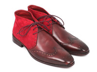 Paul Parkman Men's Chukka Boots Bordeaux Suede & Leather (IDCK51-BRD)