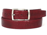 PAUL PARKMAN Men's Croc Embossed Calfskin Belt Burgundy (IDB02-BUR)