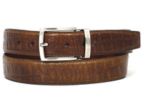 PAUL PARKMAN Men's Crocodile Embossed Calfskin Leather Belt Hand-Painted Olive (IDB02-OLV)