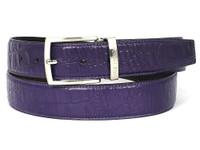 PAUL PARKMAN Men's Crocodile Embossed Calfskin Leather Belt Hand-Painted Purple (IDB02-PURP)