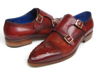 Paul Parkman Men's Double Monkstrap Burgundy Leather (ID047-BUR)
