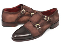 Paul Parkman Men's Double Monkstrap Captoe Dress Shoes Brown/Beige Suede Upper & Leather Sole (IDFK09)