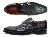 Paul Parkman Men's Double Monkstraps Black Crocodile Embossed Calfskin (ID045BK41)
