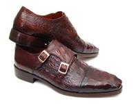 Paul Parkman Men's Double Monkstraps Brown & Bordeaux Crocodile Embossed Calfskin (ID045FG12)