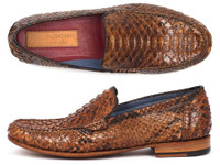 Paul Parkman Men's Genuine Python Moccasins Brown & Tobacco (IDYL41UT)