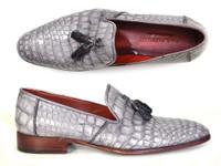 Paul Parkman Men's Grey Genuine Crocodile Tassel Loafers (ID44LF27)