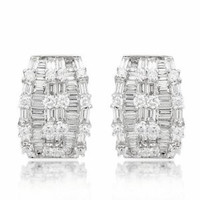 3.64 tw Round & Baguette Diamond Hoop Earrings