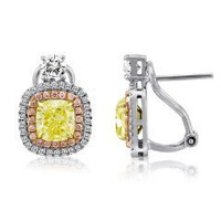 3.57 Cttw Tri-color Fancy Diamond Stud Earrings (ydcu 2.36ct, Pink 0.28ct, Rd 0.87ct)