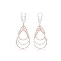 18k White/rose Gold 2.32 Ctw Diamond Earrings