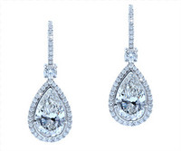 4.46 cttw Pear Cut Diamond Dangle Earrings In 18k White Gold