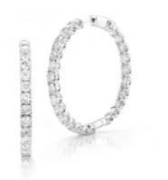 7.00 Ct Diamond Hoop Earrings Inside Out