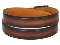 PAUL PARKMAN Men's Leather Belt Hand-Painted Brown & Camel (IDB01-BRWCML)