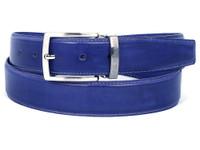 PAUL PARKMAN Men's Leather Belt Hand-Painted Cobalt Blue (IDB01-BLU)