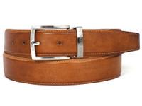 PAUL PARKMAN Men's Leather Belt Hand-Painted Tobacco (IDB01-CML)