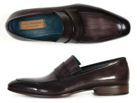 Paul Parkman Men's Loafer Black & Gray Hand-Painted Leather Upper with Leather Sole (ID093-GRAY)