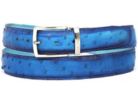 PAUL PARKMAN Men's Ocean Blue Genuine Ostrich Belt (IDB04-OCEAN)