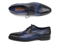Paul Parkman Men's Parliament Blue Derby Shoes Leather Upper & Leather Sole (ID046-BLU)