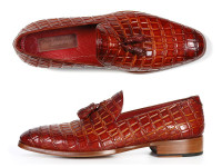 Paul Parkman Men's Reddish Camel Crocodile Embossed Calfskin Tassel Loafer (ID0823-RDSH)