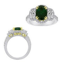 3.32 Ct Emerald & Diamond Ring (rd 0.52ct, Ov 0.92ct, Emerald 1.88ct)