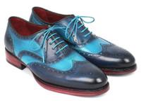 Paul Parkman Men's Two Tone Wingtip Oxfords Blue & Turquoise (ID27TQ88)