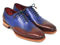 Paul Parkman Men's Wingtip Oxford Goodyear Welted Blue & Brown (ID81BLU57)