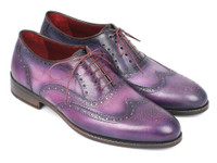 Paul Parkman Wingtip Oxfords Purple & Navy Handpainted Calfskin (ID743-PURP)