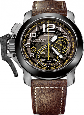 Graham Chronofighter Oversize Target  Chronograph (seconds, 30 minutes counter). Date at 8 o'clock, G1747, automatic chronograph, 28'800 A/h (4Hz), Incabloc shock absorber, Grey-tinted smoked dial. Minutes and seconds counters with white Super-LumiNova (grade A, highly luminescent) and yellow graduation