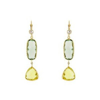 Herco 14k Yellow Gold Green Amethyst & Lemon Quartz Earrings