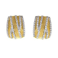 Herco 18k Yellow Textured Diamond Earrings