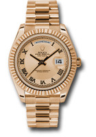 Rolex Watches: Day-Date II President Pink Gold - Fluted Bezel 218235 chcrp