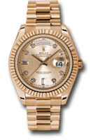 Rolex Watches: Day-Date II President Pink Gold - Fluted Bezel 218235 chdp