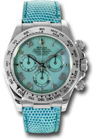 Rolex Watches: Daytona White Gold - Leather Strap  116519 blue