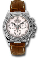 Rolex Watches: Daytona White Gold - Leather Strap 116519 mop