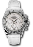 Rolex Watches: Daytona White Gold - Leather Strap 116519 mopdiaw