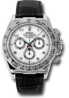 Rolex Watches: Daytona White Gold - Leather Strap  116519 wabk