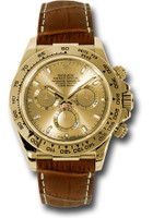 Rolex Watches: Daytona Yellow Gold - Leather Strap 116518 chsbr