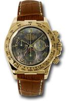 Rolex Watches: Daytona Yellow Gold Leather Strap 116518 dkmrbr