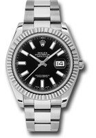 Rolex Watches: Datejust II 41mm Steel and White Gold - Fluted Bezel - Oyster 116334 bkio