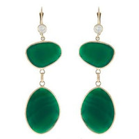 Herco 14k Yellow Gold Green Agate Earrings