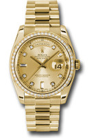 Rolex Watches: Day-Date President Yellow Gold - 52 Dia Bezel - President 118348 chd