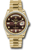 Rolex Watches: Day-Date President Yellow Gold - 60 Dia Bezel - President 118398 bedp