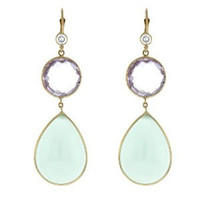 Herco 14k Yellow Gold Chalcedony & Pink Amethyst Earrings
