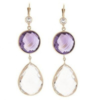 Herco 14k Yellow Gold Crystal & Pink Amethyst Earrings
