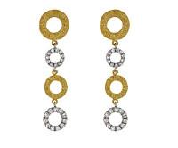 Herco 18k White & Yellow Gold Textured Diamond Earrings