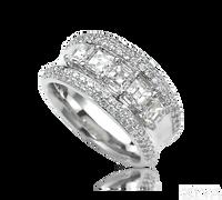 Ziva Asscher Cut & Pave Diamond Anniversary Ring