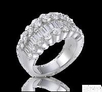 Ziva Diamond Anniversary Ring with Baguette & Round
