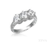 Ziva Engraved 3-Stone Anniversary Ring