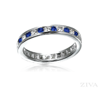 Ziva Sapphire & Diamond Eternity Ring in Channel Setting