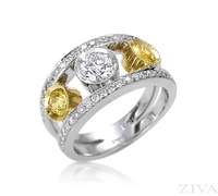 Ziva Unique Yellow Sapphire & Diamond Anniversary Ring